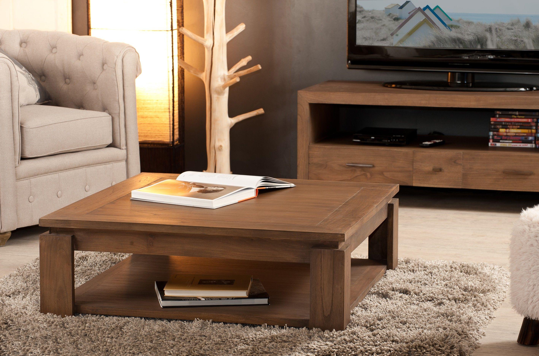 chaussures de séparation e9b23 b76f3 Table basse carrée bois exotique LOUNA - Infos et Dimensions ...
