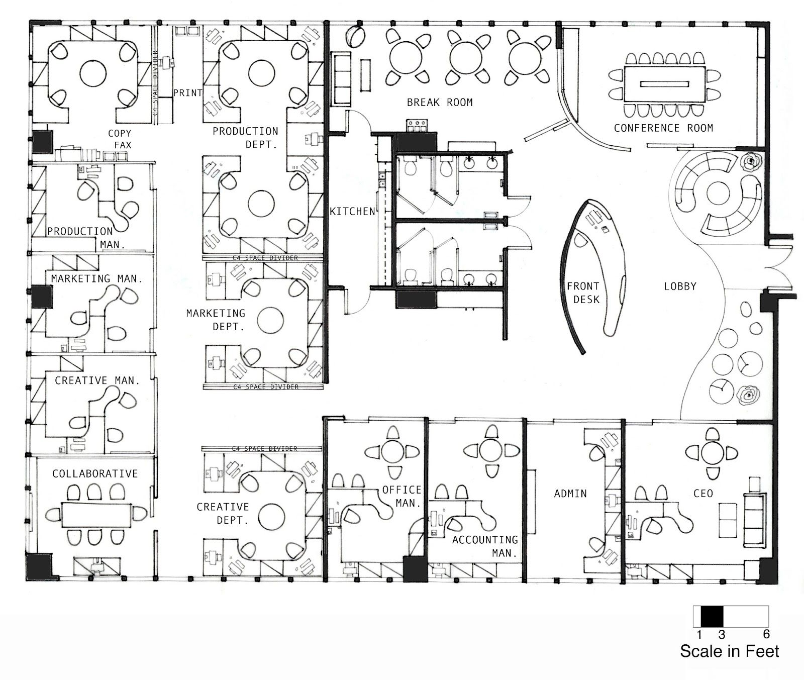 Office interior layout plan delectable furniture concept for Office floor plan samples