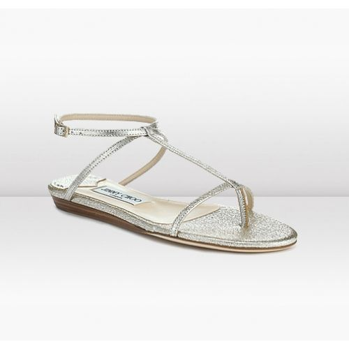 1ac35347181b Jimmy Choo Fiona Champagne Glitter Leather Flat Sandals