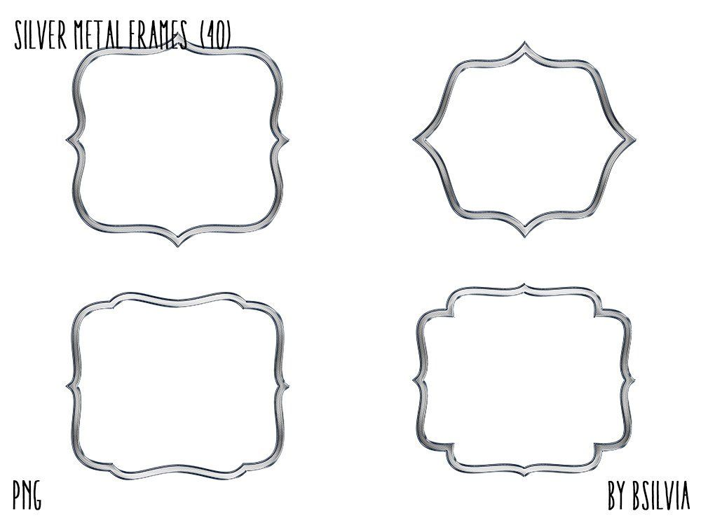 Silver Metal Frame Clipart Silver Metal Border Clipart Etsy Clip Art Frame Clipart Clip Art Borders