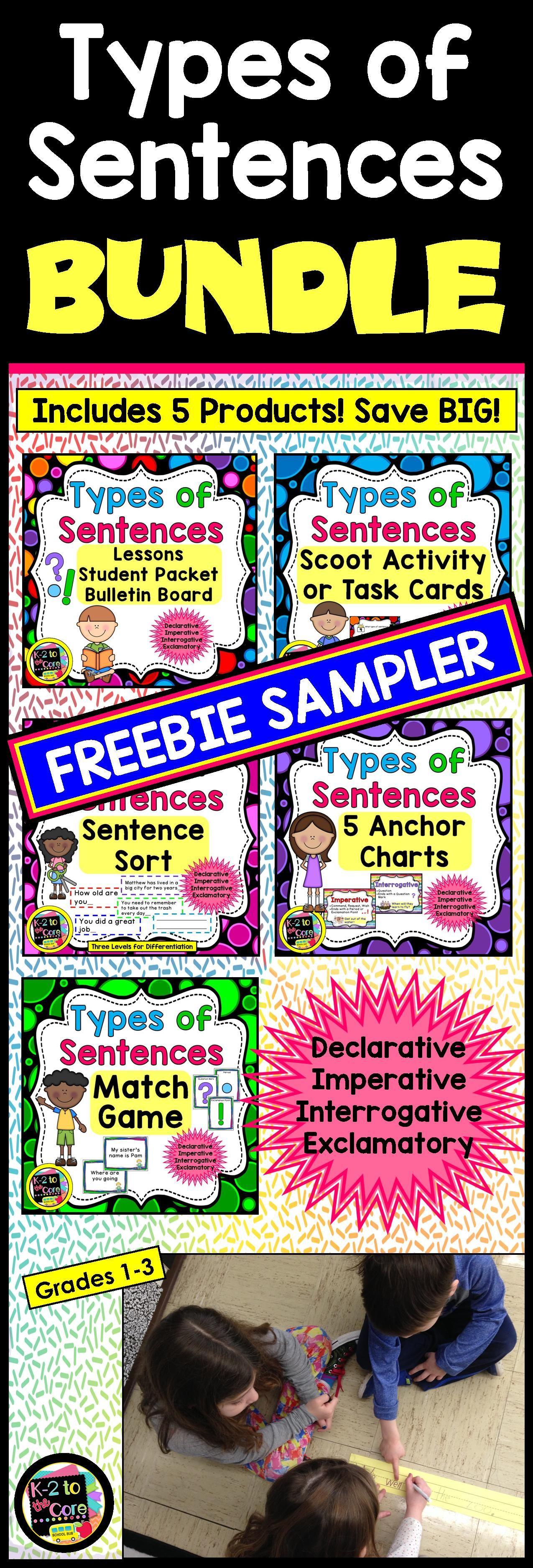 Types Of Sentences Amp Punctuation Freebie Sampler