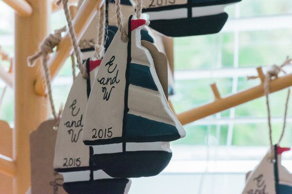 Nautical wedding favor idea - handmade, personalzied sailboat ornaments! {Foto By Freas Photography}