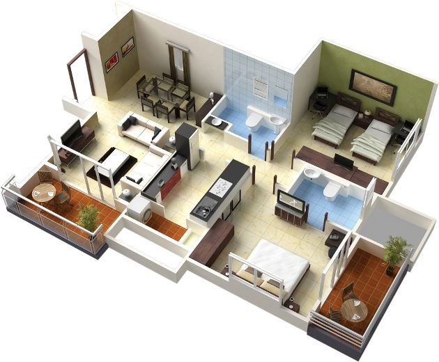 Minimalist Model Floor Plan 3D On Decoration Redesign Model