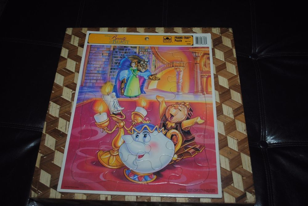 Beauty and the Beast LIBRARY Vintage 1978 Golden Frame Tray Puzzle Mrs. Potts + #Golden
