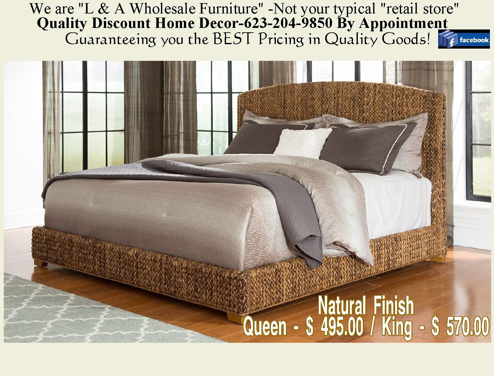 Hand Woven Banana Leaf Bed Panel bed, Upholstered