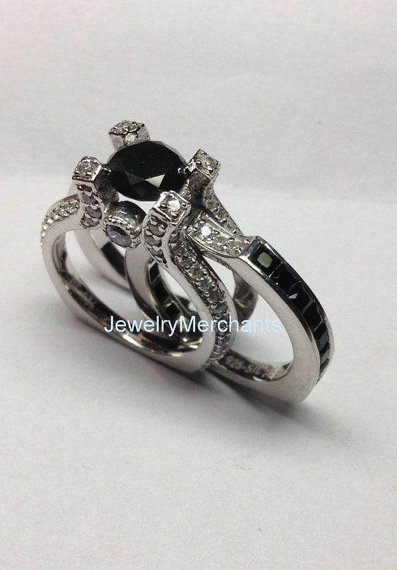 Unique Engagement Ring Set 2.30 Ct Round Black by JewelryMerchants