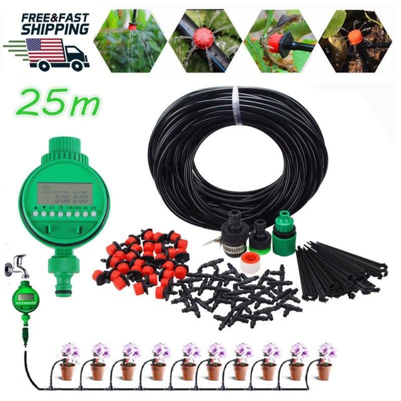 25m DIY Micro Drip Irrigation System Plant Self Water