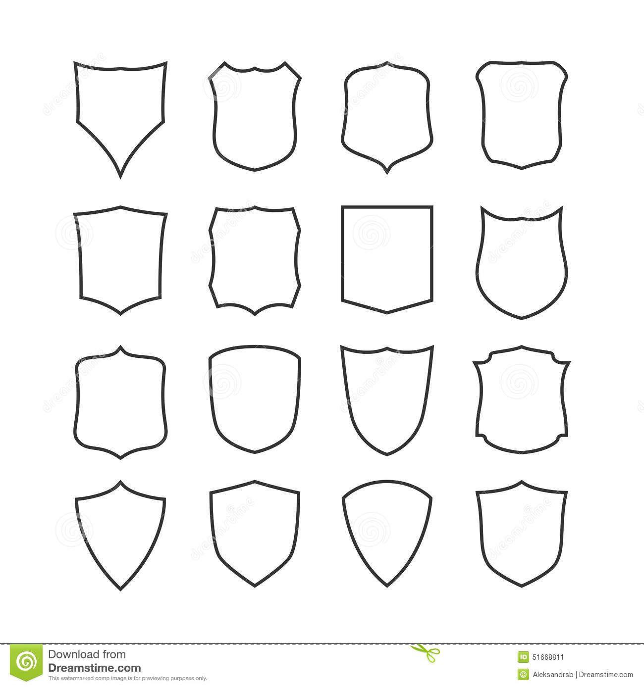 Sistema Grande De Los Escudos En Blanco, Clásicos, Plantillas ...