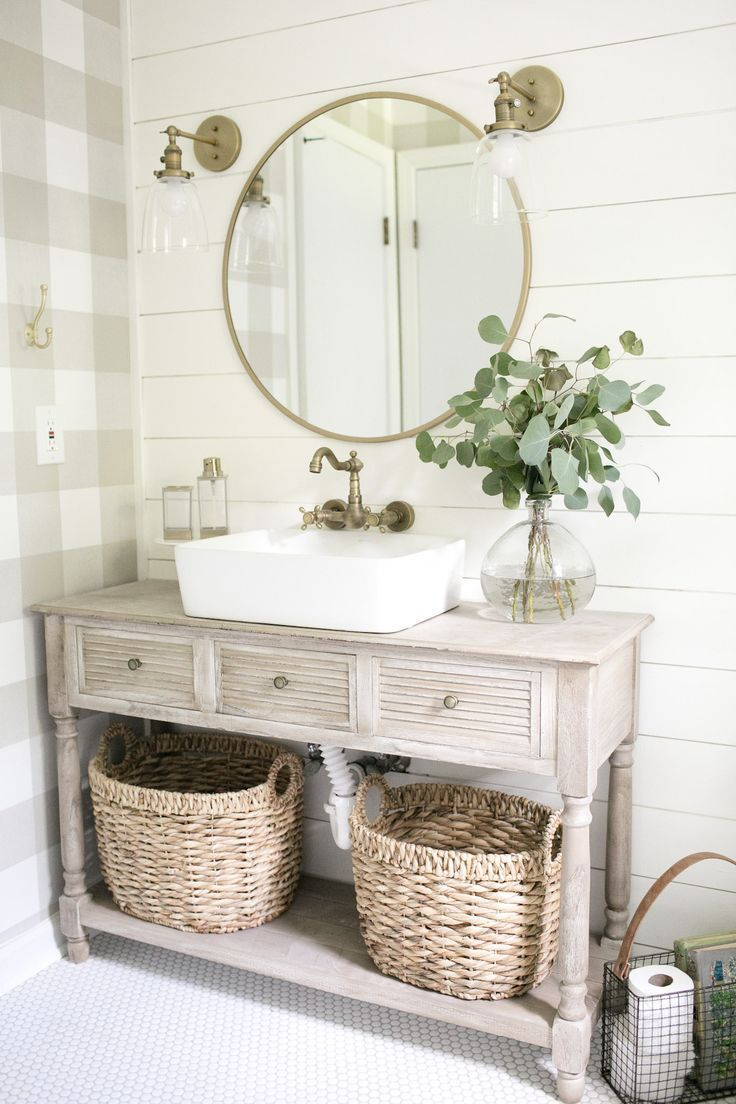 Farmhouse style bathroom. Love the plaid wallpaper, shiplap, and shelf with baskets for storage. - #baskets #Bathroom #farmhouse #Love #plaid #Shelf #shiplap #Shiplap #Storage #style #wallpaper #modernfarmhousestyle