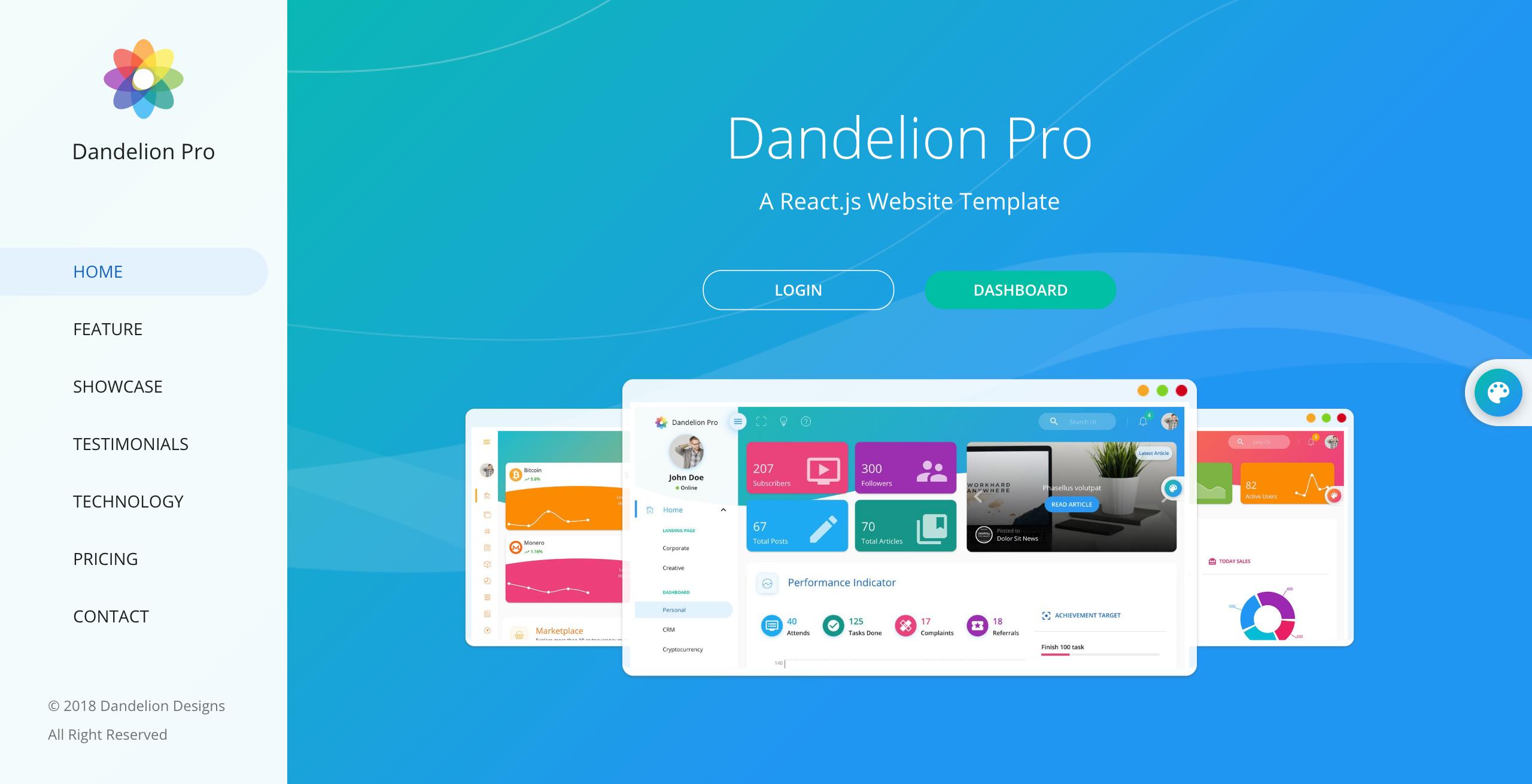 Dandelion Pro React Admin Dashboard Template Dashboard