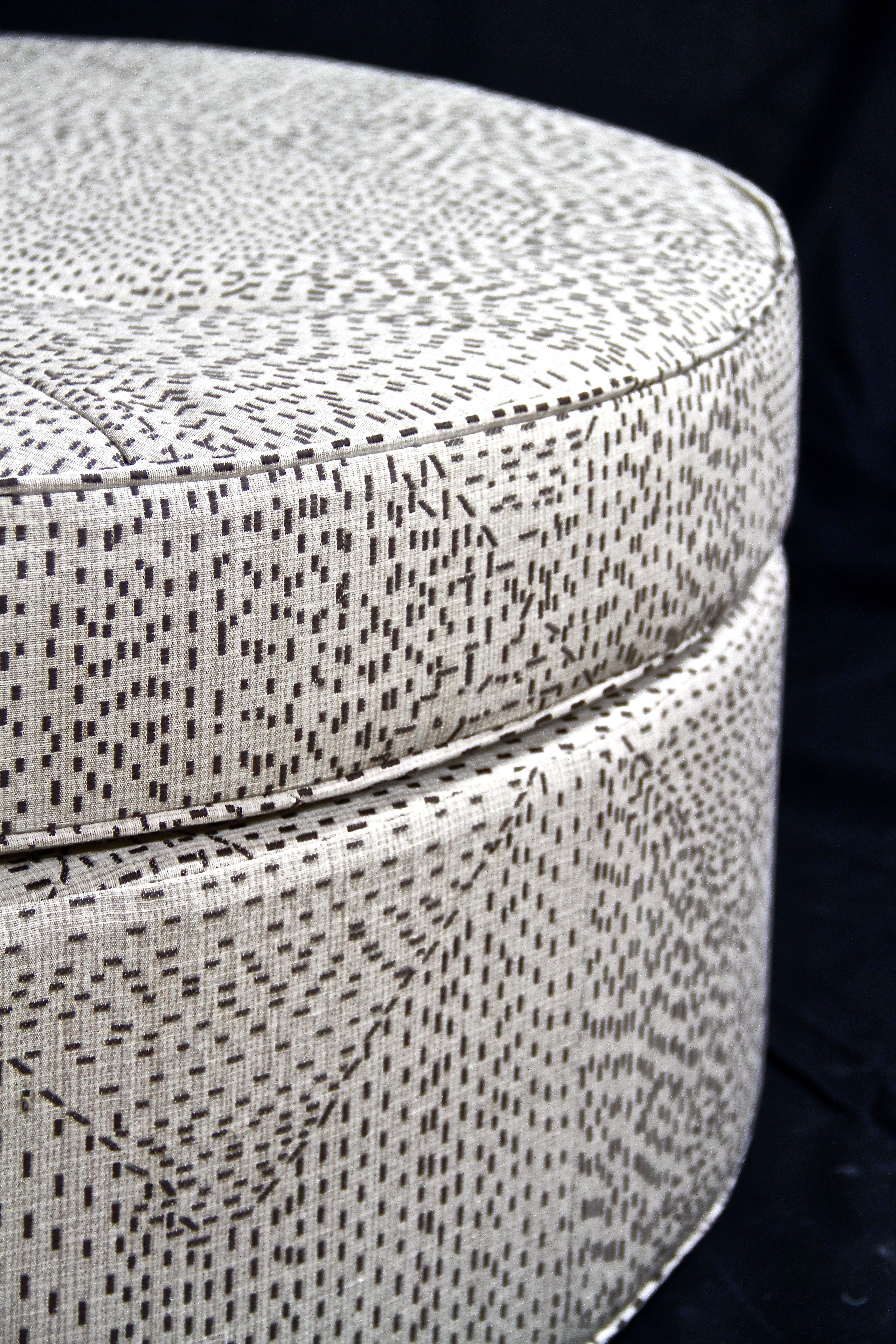 An ottoman we recently constructed for a client. Circular ottomans ...