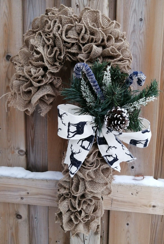 Ruffled burlap wreath, candy cane wreath, farmhouse