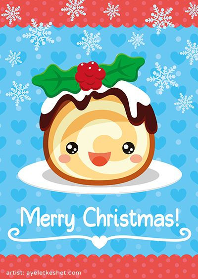 kawaii Merry Christmas greeting card design with illustration of a