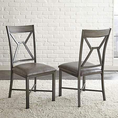 kirklands dining chairs minnie high chair banner gray amalise set of 2 metaldiningchairs