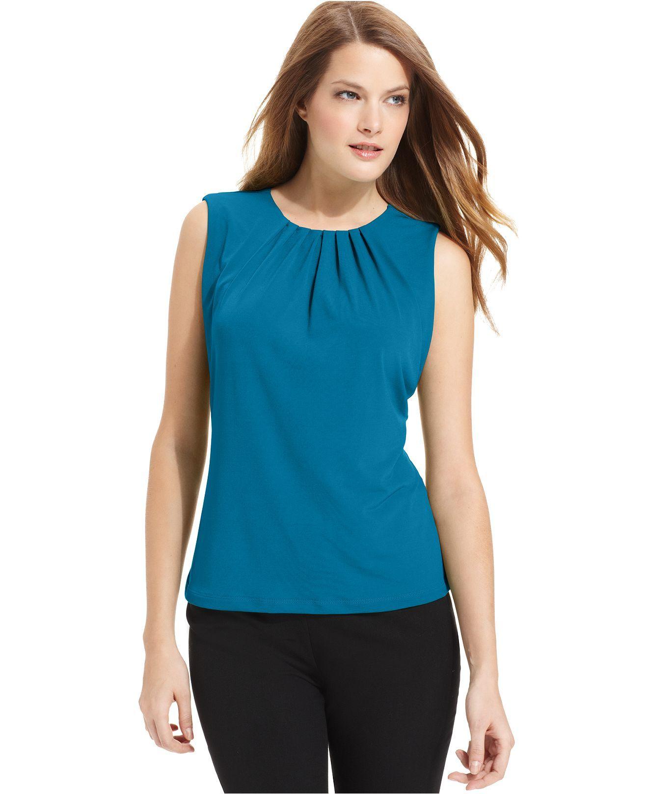 5acf34b73952f5 Calvin Klein Top, Sleeveless Pleated-Neck Blouse - Tops - Women - Macy's