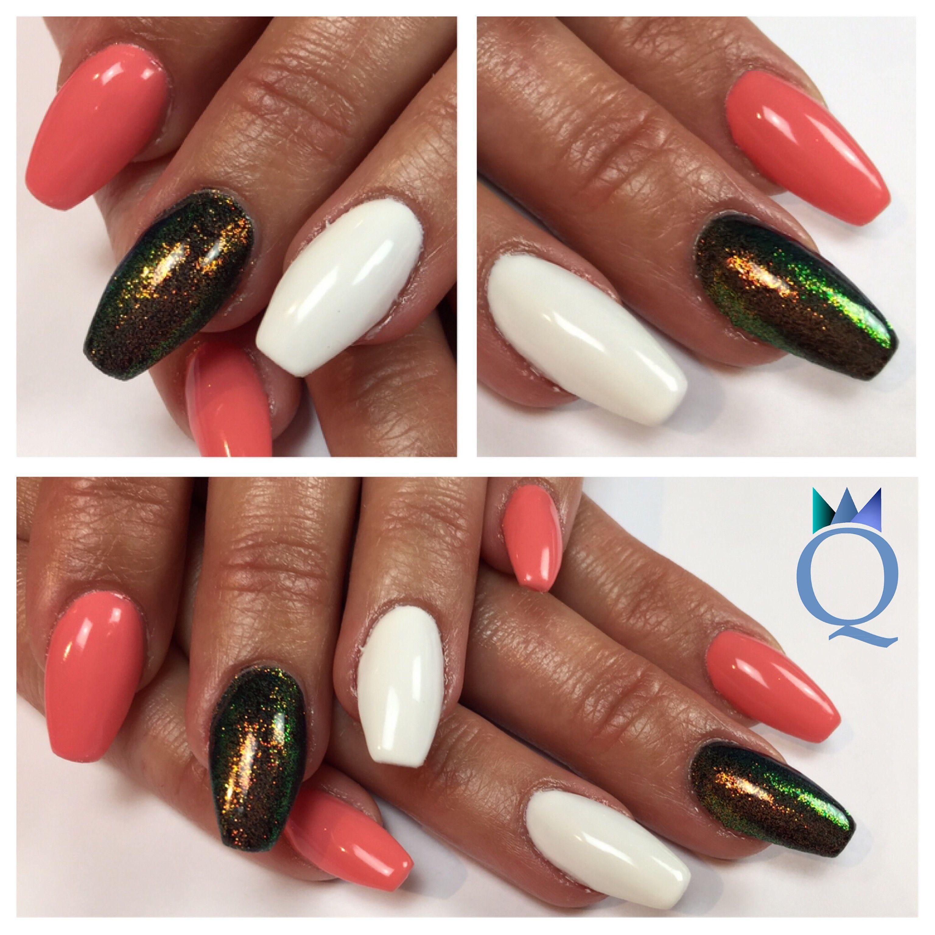 coffinnails #ballerinashape #acrylicnails #nails #black #white ...