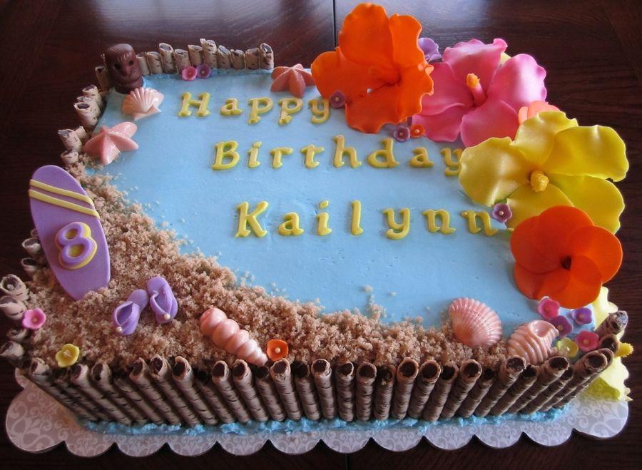Hawaiian Themed Cakes Hawaiian Themed 1 2 Sheet Cake