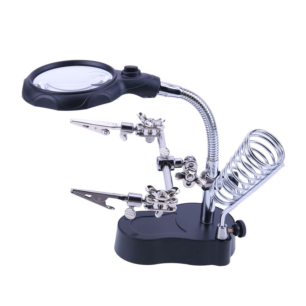 No Fan Helping Hands Soldering Aluminium Five Arm Soldering Station with Magnifying Glass Welding Repair Tool