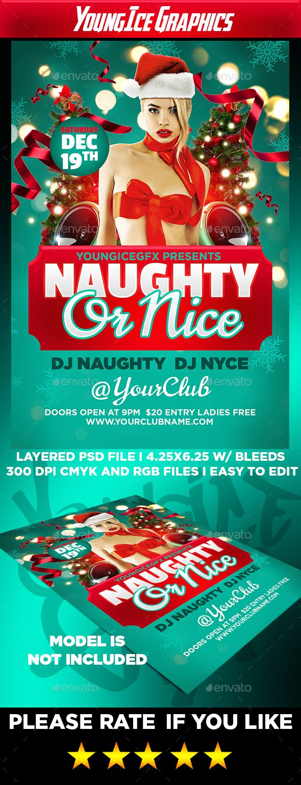 Naughty or Nice Flyer Template PSD #design Download: http ...