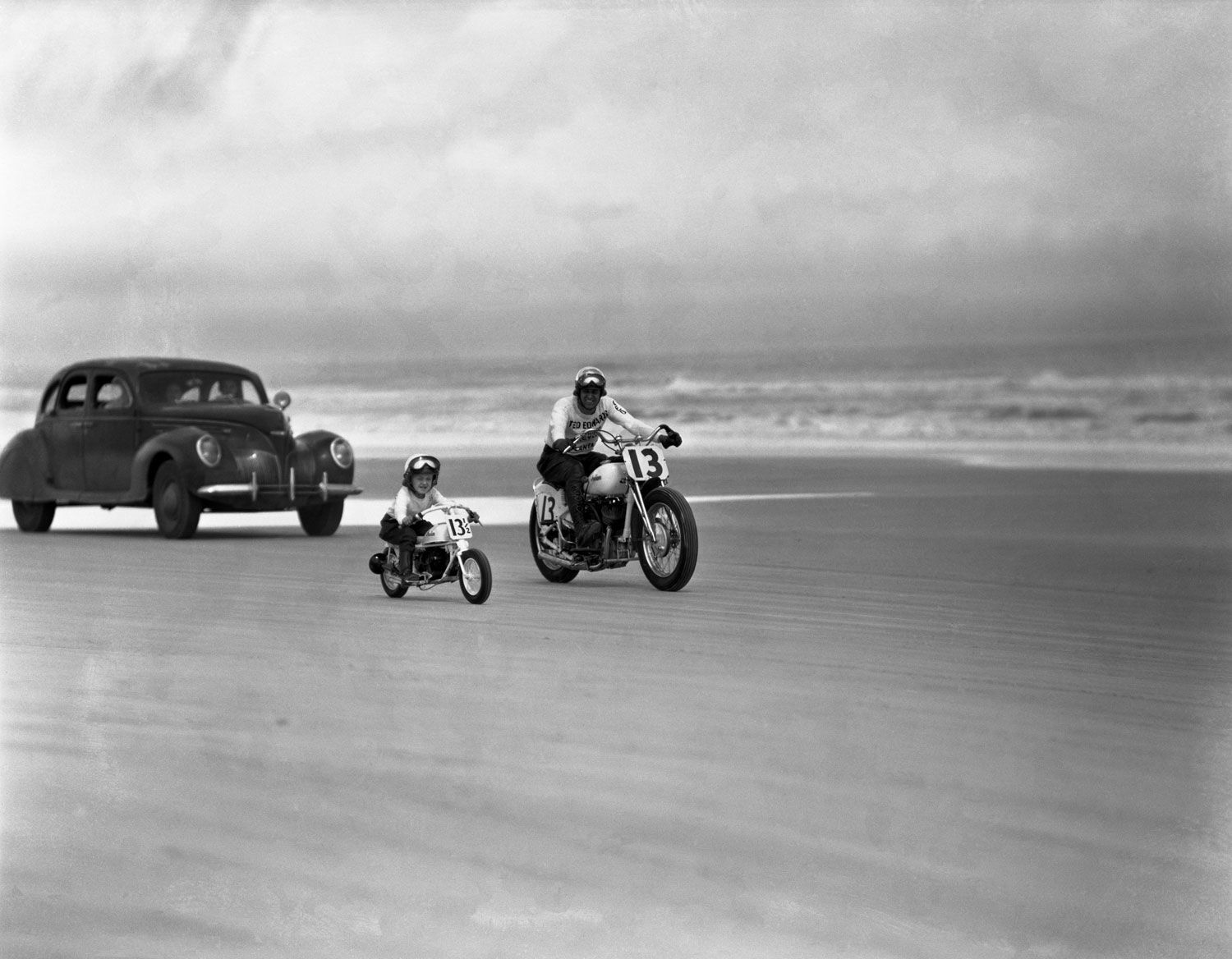 Joseph Scherschel—Time & Life Pictures/Getty Images  Unpublished. On matching full-size and miniature Indian motorcycles, a man and a boy ride along the beach, Daytona Beach, Florida, March 1948    Read more: http://life.time.com/culture/daytona-motorcycle-madness-1948/#ixzz1pq47OIvF