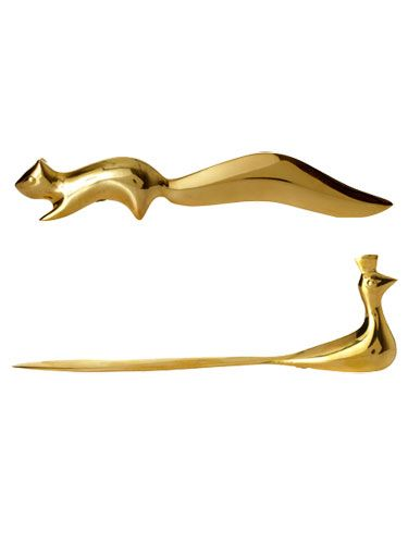 jonathan adler brass peacock and squirrel letter openers