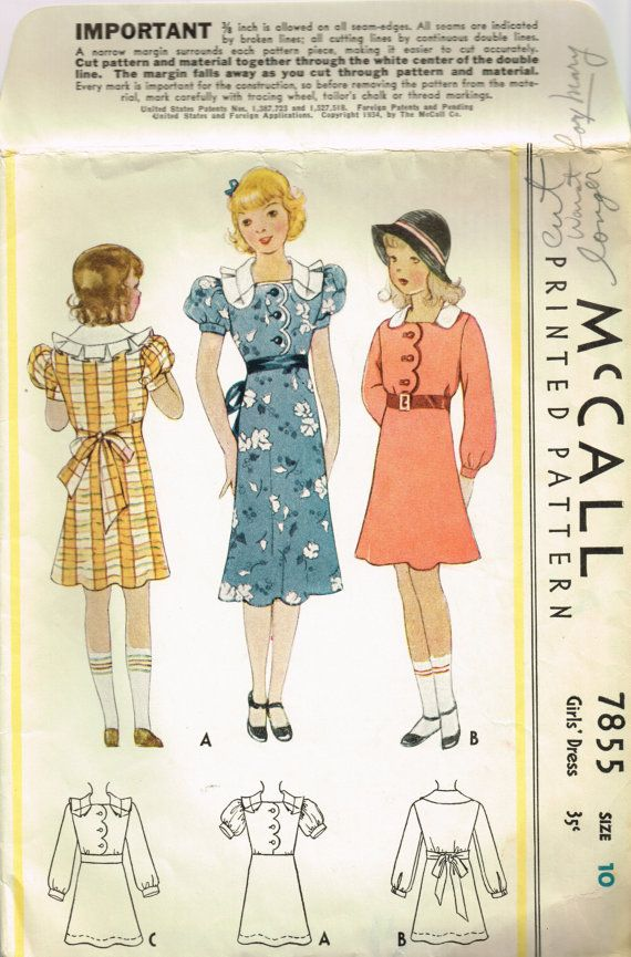 VINTAGE 1930s 1934 McCall Girls DRESS PATTERN 7855 Sleeve, Collar ...