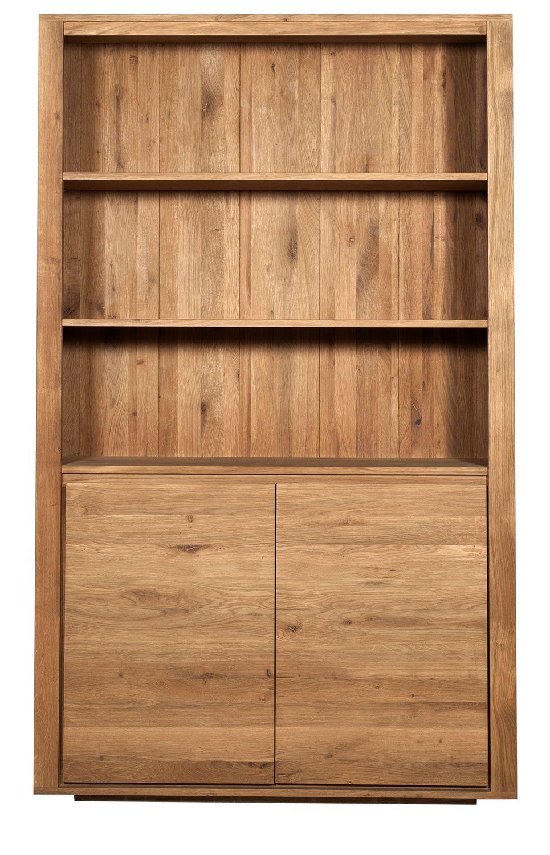 Ethnicraft Shadow Oak Book Rack 2 Doors Solid Wood Furniture