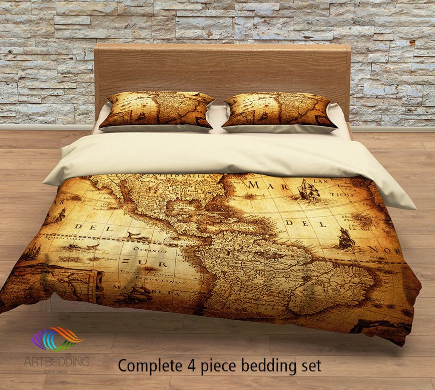 Vintage World Map Bedding Antique Map Of The World 1635 Luxury Duvet Cover Set Steampunk World Map Comforter Map Bedding Full Bedding Sets Duvet Cover Sets