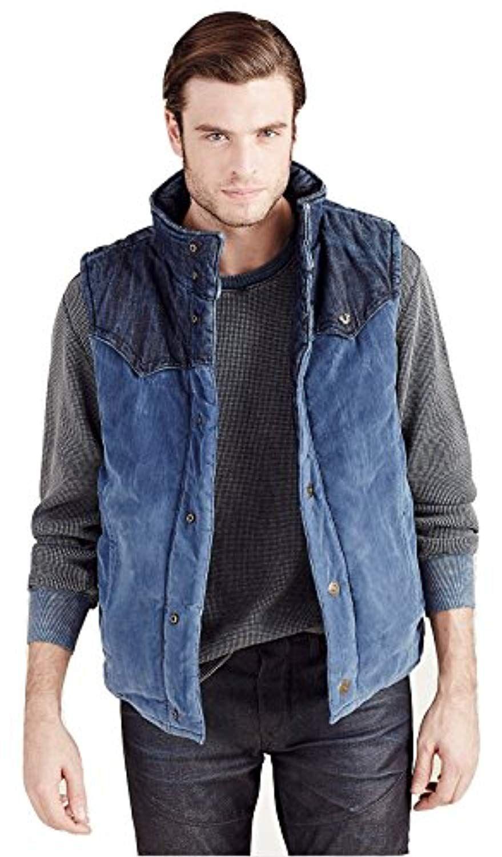 Mens Reversible Puffer Denim Corduroy Vest Jacket In