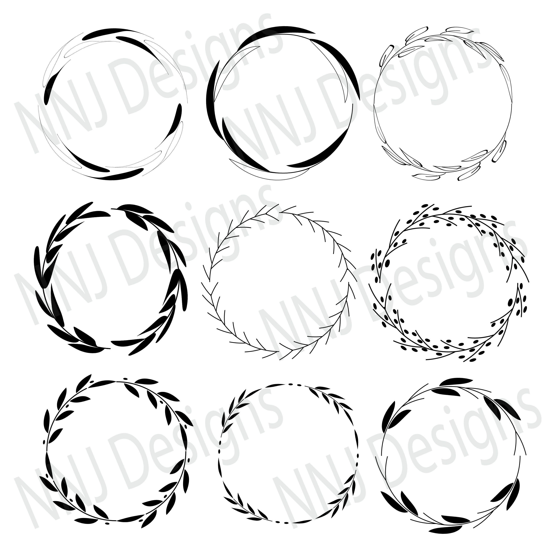 Laurel Wreath Svg Bundle Round Circle Monogram Frame Leaves Etsy In 2021 Monogram Frame Circle Monogram Framed Leaves