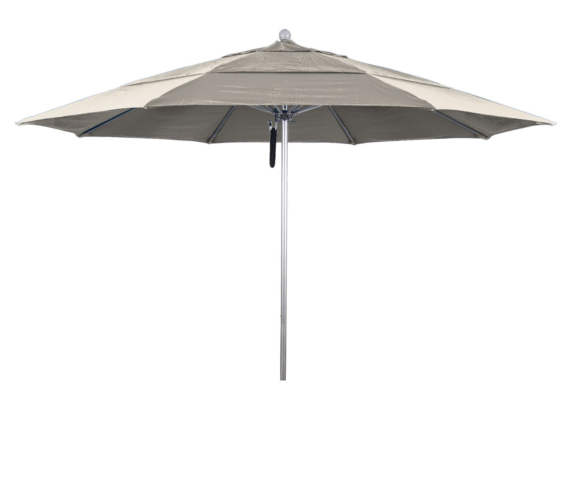 Eclipse Collection 11' Fiberglass Market Umbrella PO DVent Silver Anodized/Sunbrella/Canvas