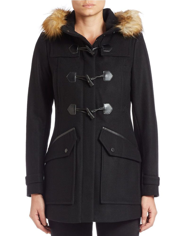 Marc New York by Andrew Marc Women's Cara Wool Blend Black Toggle Coat -  Size 6 - Marc New York By Andrew Marc Women's Cara Wool Blend Black Toggle