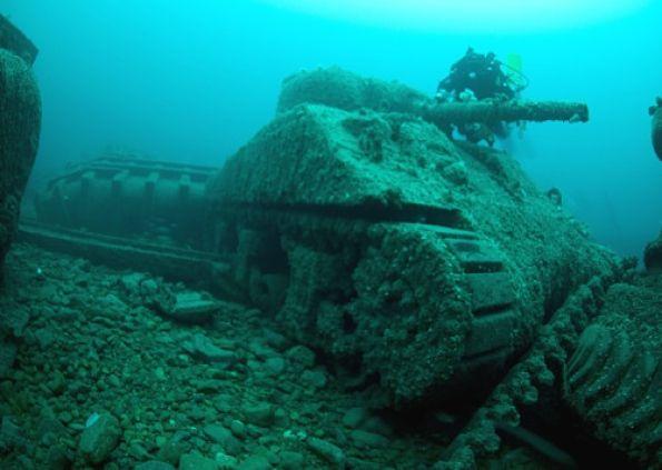 Military Warships, Tanks & Airplanes Graveyard Under The ... Sunken Tank