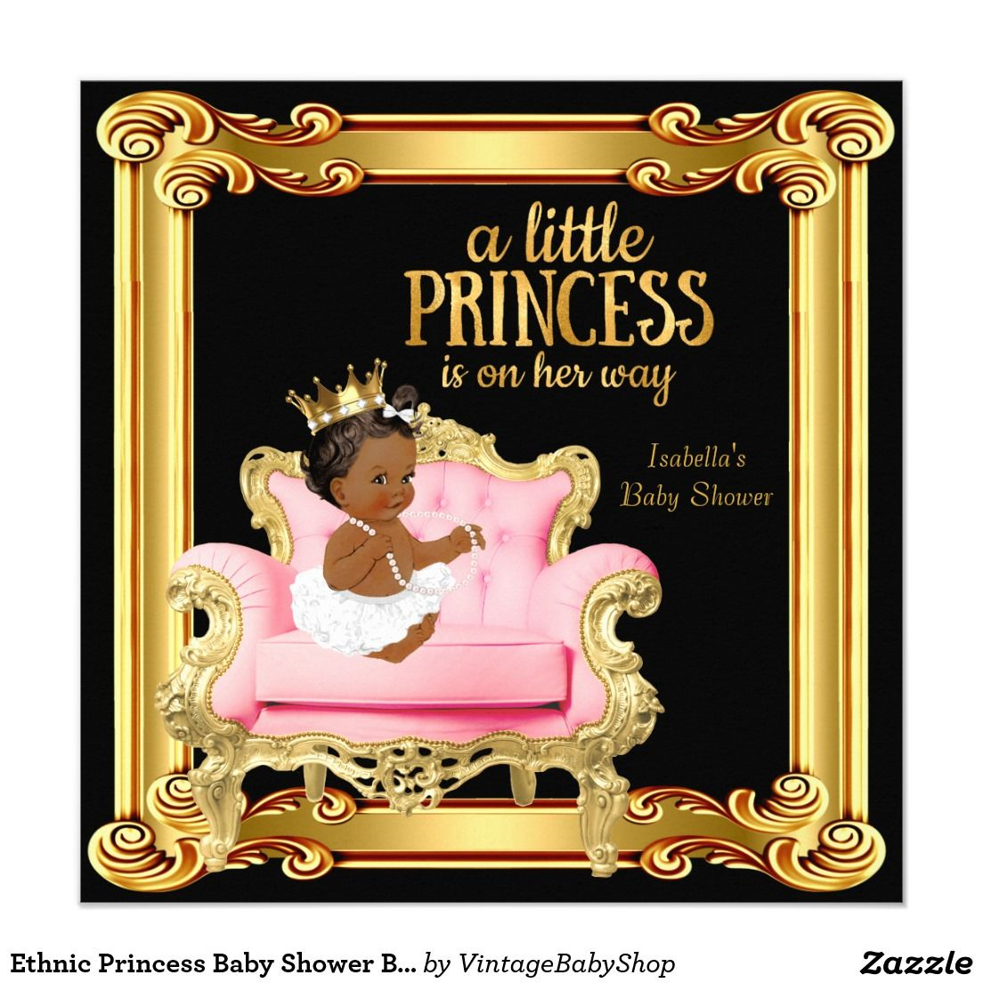 princess baby shower black pink gold chair card baby showers gold