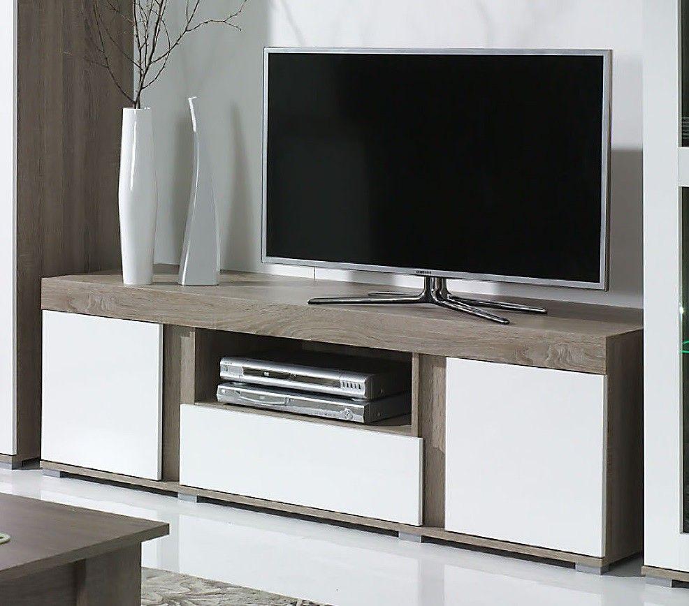 Impressionnant Meuble Tv Bois Et Blanc Laqu D Coration  # Meuble Tv En Bois Simple Et Leur Plan