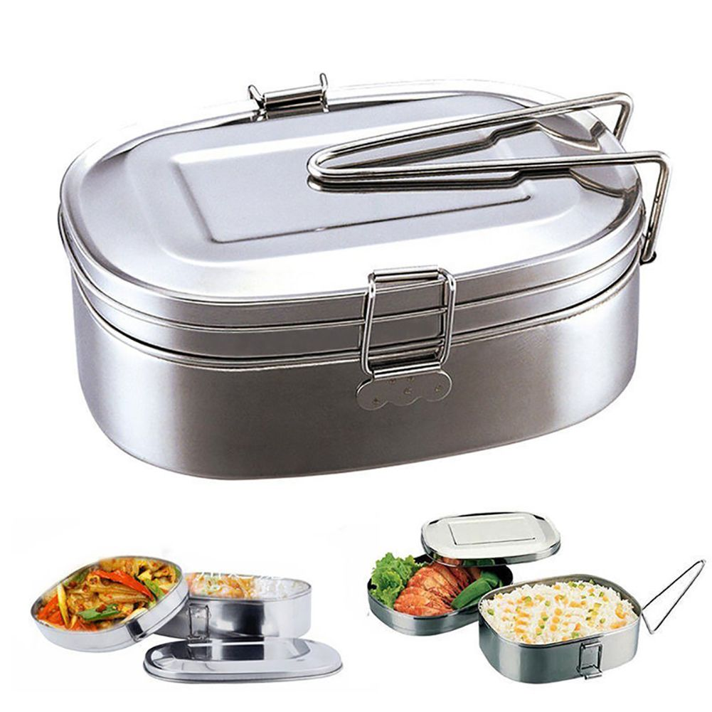 Double Layers Bento Lunch Box Student Stainless Steel Food Storage