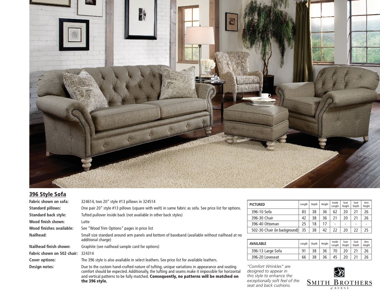 Smith Brothers Living Room Chesterfield Tufted Sofa 043372 ...