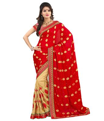 Red Jacquard Embroidered Designer Wear Saree Sarees on Shimply.com