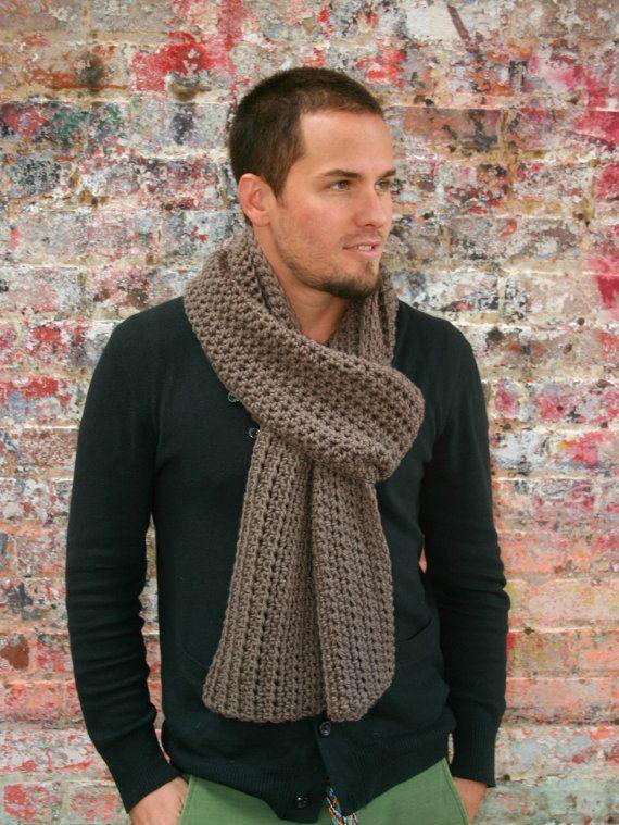 Men\'s Crochet Scarf in Mocha by moxnixAW on Etsy, $28.00   Crochet ...