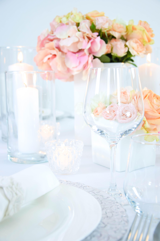 Apricot I Rosa I Hochzeit I Dekoration I Weiß I Glas I Kerzen I