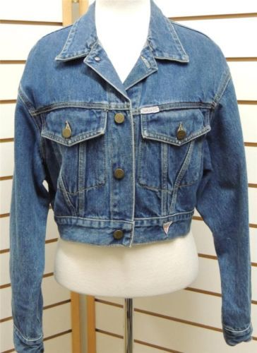 Vintage Georges Marciano Guess Blue Jean Denim Jacket Cropped Shrug S