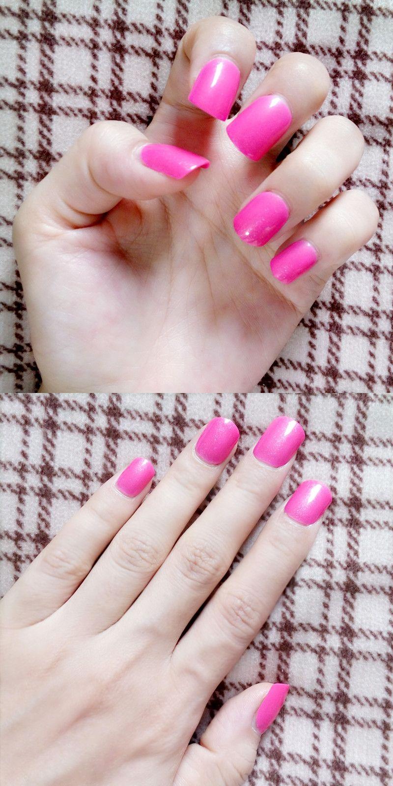 Short Fake Nails Candy Rose Red Pink Lady False Nail Tips Natural ...
