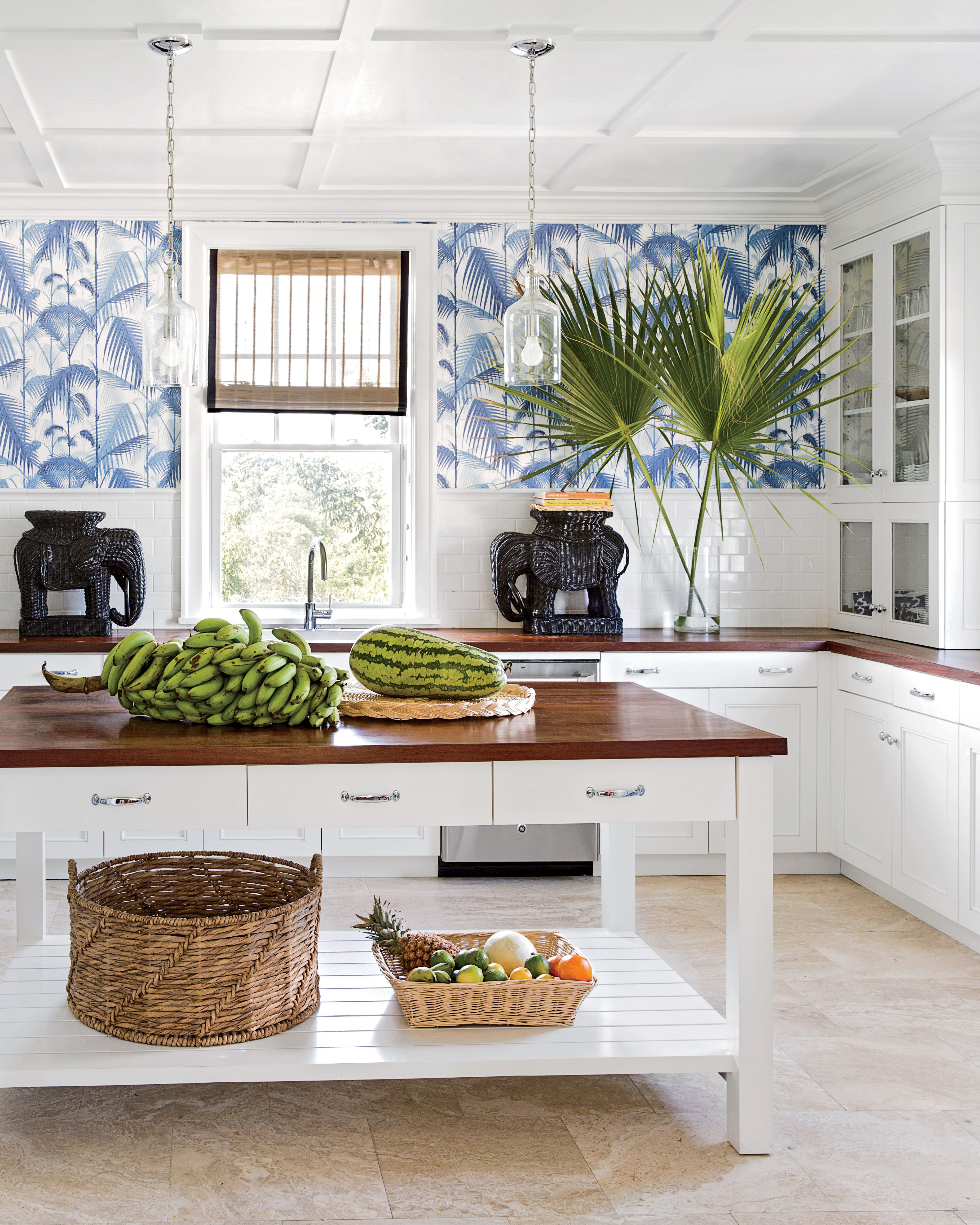 Blue palm leaf wallpaper gives this Bahamas kitchen a touch of ...