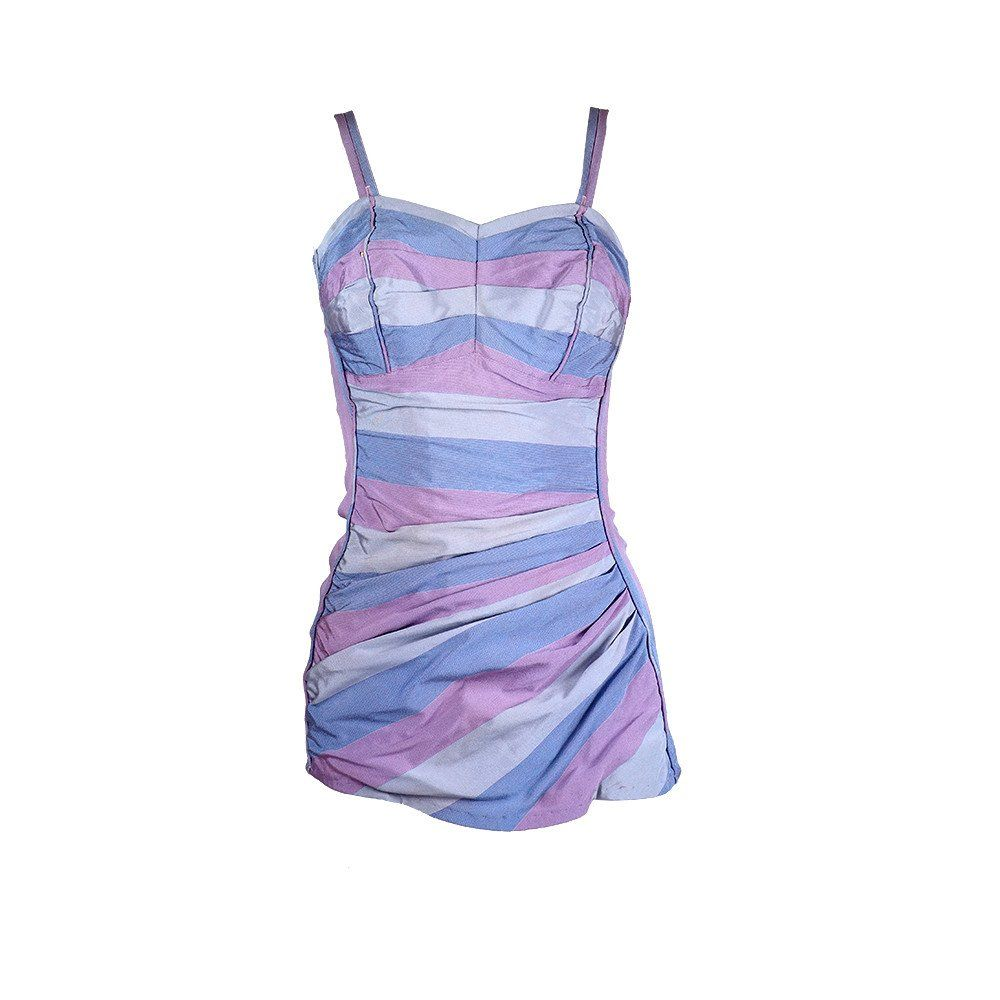 Vintage 50s Blue & Lavender Striped Swimsuit – THE WAY WE WORE ...