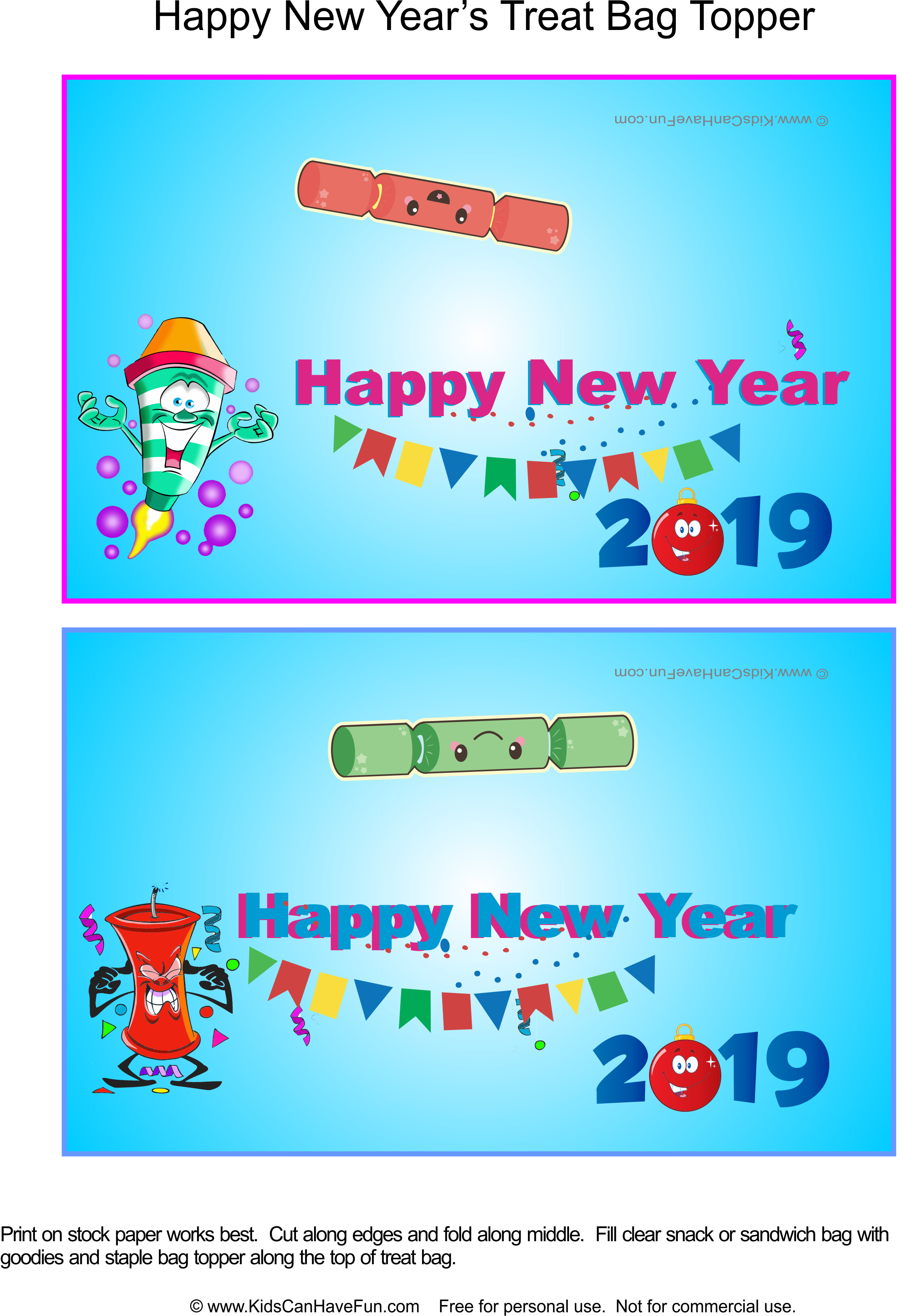 Happy New Year Treat Bag Toppers Dscanhavefun