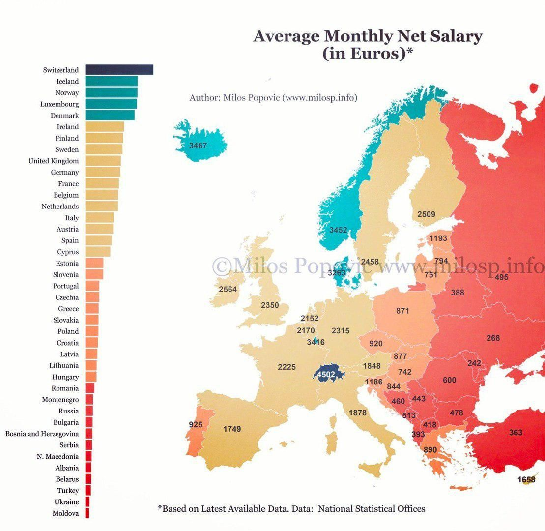 Average monthly net salary in europe map united nations