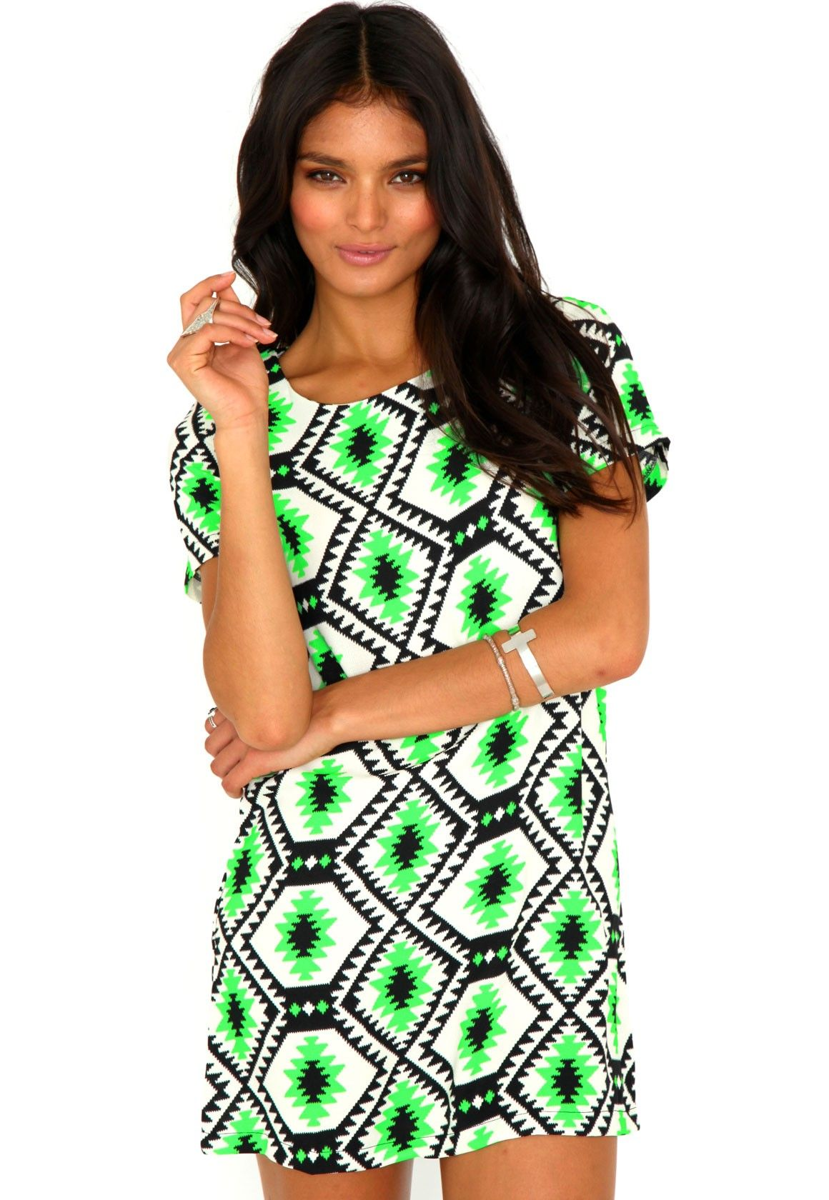 Suzanne tribal mini dress in neon green native american inspired