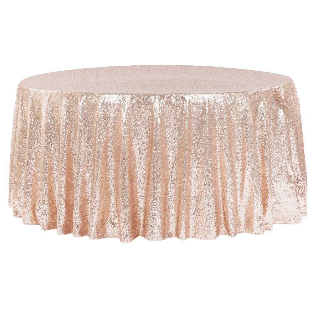 Glitz Sequins 132 Round Tablecloth Blush Rose Gold Rose Gold Table Cloth Table Cloth Rose Gold Table