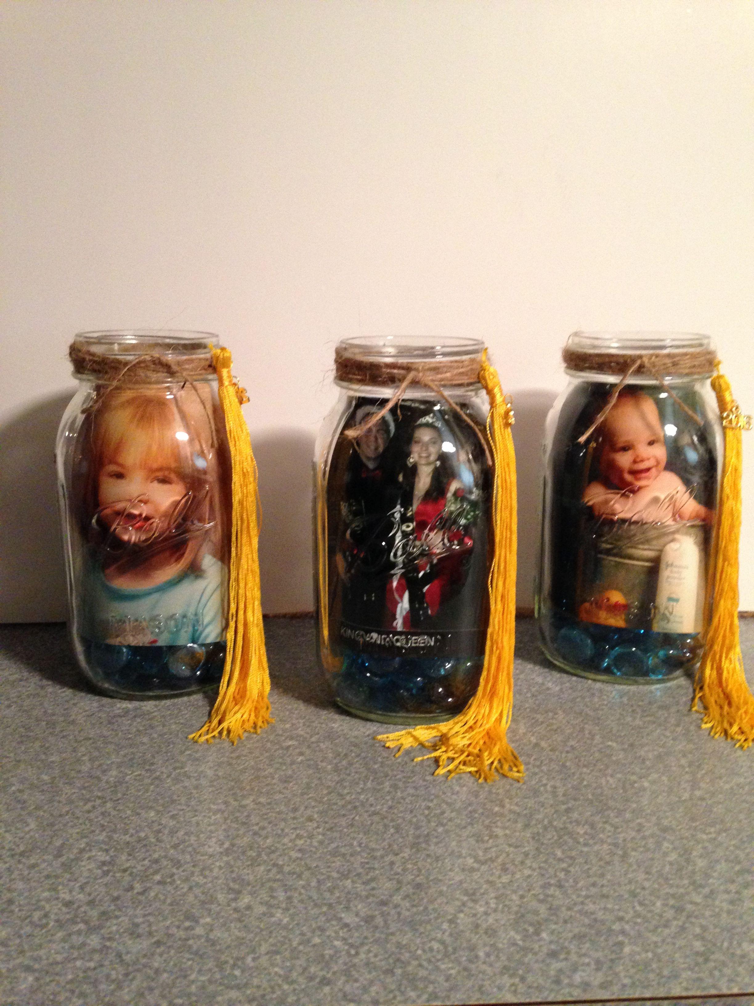Mason jar photo centerpieces for graduation party my diy