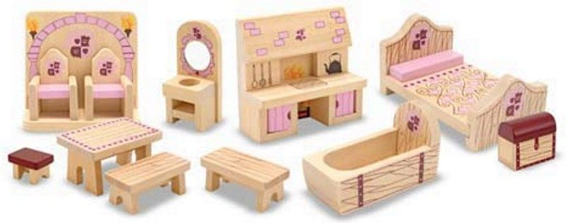 Prinzessinnenschloss-Möbel 12 Teile Puppenhaus Moebel Holzspielzeug